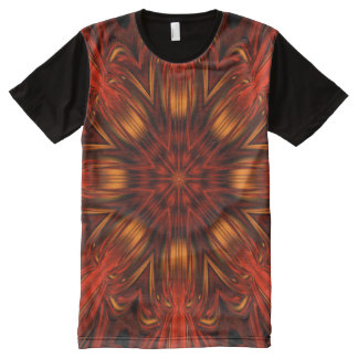 Orange Psychedelic Flower Tee Shirt All-Over Print T-Shirt