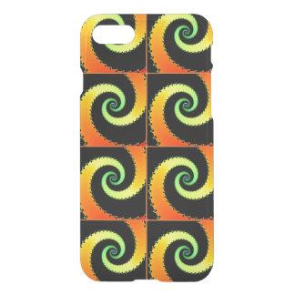 Orange psychedelic swirls on iPhone case