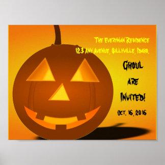 Orange Pumpkin Happy Smiling Jack 'o Lantern Poster