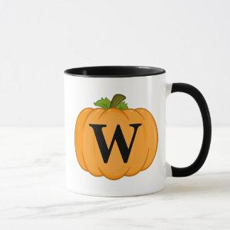 Orange Pumpkin Monogram Mug