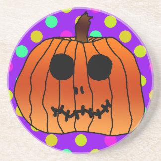 Orange Pumpkin Purple Yellow Polka Dots Cyan Beverage Coaster