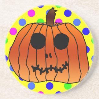 Orange Pumpkin Yellow Polka Dots Cyan Halloween Coaster