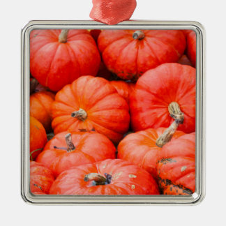Orange pumpkins at market, Germany Silver-Colored Square Decoration