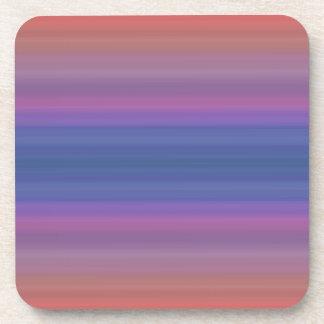 Orange Purple and Blue Stripes Abstract Art Design Coaster