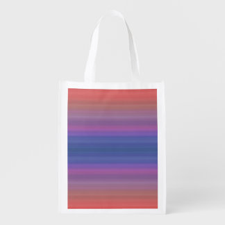 Orange Purple and Blue Stripes Design Reusable Grocery Bag