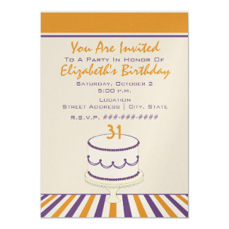 Orange & Purple Birthday Cake / Birthday Party 5x7 Paper Invitation Card
