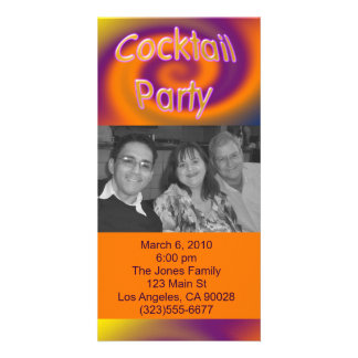 orange purple cocktail party custom photo card