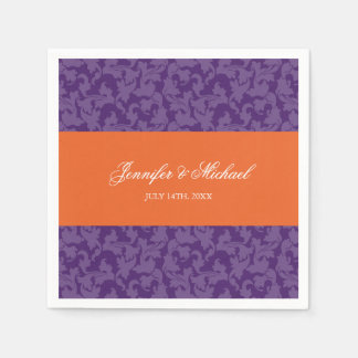 Orange Purple Damask Swirl Wedding Personalized Paper Serviettes