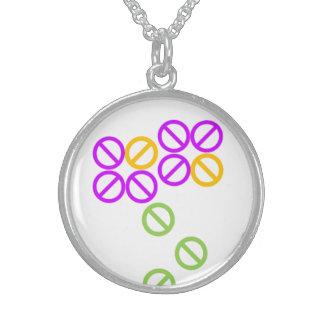 Orange Purple Flower Pattern Round Necklace