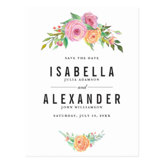 Orange & Purple Flowers Wedding | Save The Date Postcard