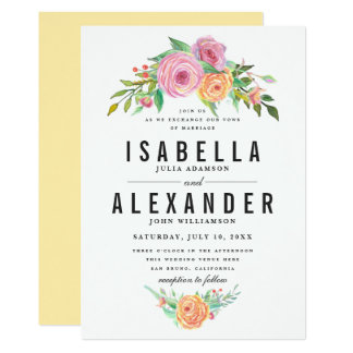 Orange & Purple Flowers Wedding | Stylish Script Card