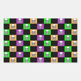 Orange, Purple & Green With Skulls Halloween Rectangular Sticker
