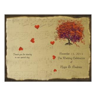 Orange & Purple Heart Leaf Tree Wedding Program 21.5 Cm X 28 Cm Flyer