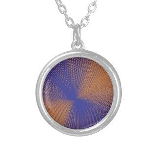 orange purple mesh round pendant necklace