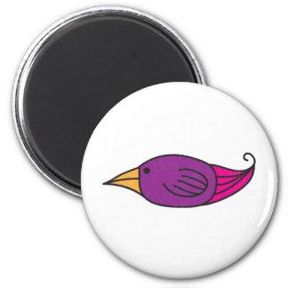 Orange, Purple, Pink Bird 6 Cm Round Magnet