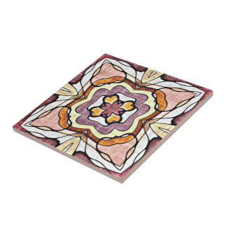 Orange Purple Retro Chic Nouveau Deco Pattern Tile