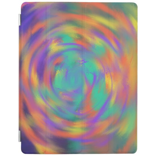 Orange Purple Spiral Abstract Art Painting Design iPad