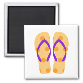 Orange Purple Summer Beach Flip Flops Magnet