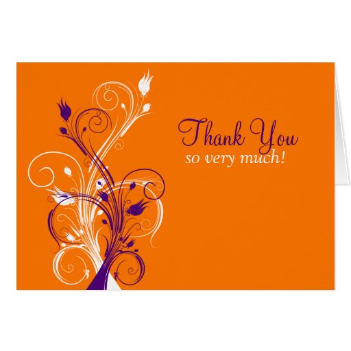 Orange Purple White Floral Thank You Card 3 Greeting Cards