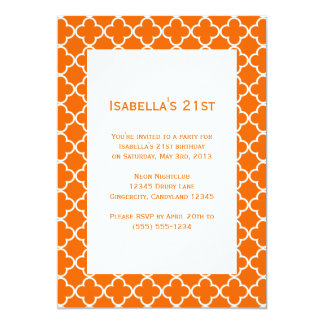 Orange Quatrefoil Birthday Invitation