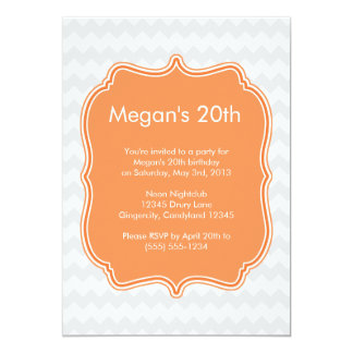 Orange Quatrefoil Chevron Birthday Invitation