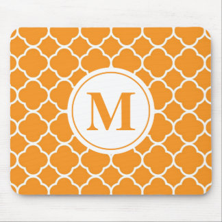 Orange Quatrefoil Modern Monogram Mousepad