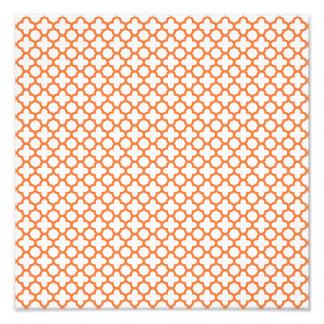 Orange Quatrefoil Pattern Photo Print