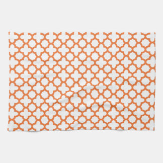 Orange Quatrefoil Pattern Tea Towel
