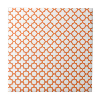 Orange Quatrefoil Pattern Tile