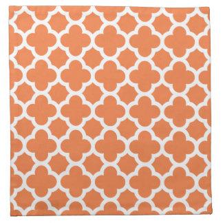 Orange Quatrefoil Trellis Pattern Napkin