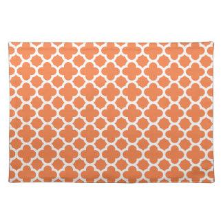 Orange Quatrefoil Trellis Pattern Placemat