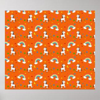 Orange rainbow unicorn hearts stars pattern poster