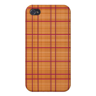 Orange/Raspberry Plaid Case Cover For iPhone 4