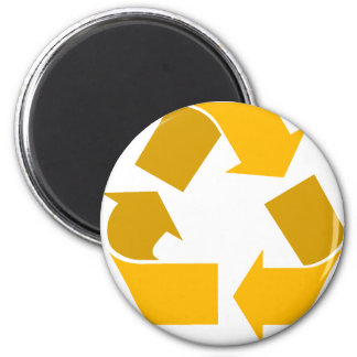orange recycle 6 cm round magnet