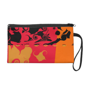 Orange Red Black Retro Funky Painting Abstract Art Wristlet Clutches