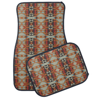 Orange Red Brown Blue Native Tribal Mosaic Pattern Car Mat