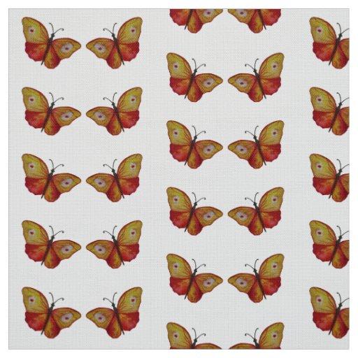 Orange Red Butterflies Watercolor Art Fabric