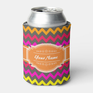 Orange Red Chevron Personalized Can Cooler