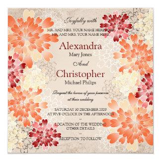 Orange Red & Cream Flowers Retro Wedding 13 Cm X 13 Cm Square Invitation Card