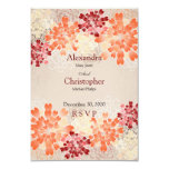 Orange Red & Cream Flowers Retro Wedding RSVP 9 Cm X 13 Cm Invitation Card