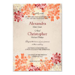 Orange Red & Cream Flowers Retro Wedding S3 11 Cm X 16 Cm Invitation Card