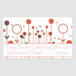 Orange Red Floral Dot Rectangle Stickers
