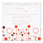"Orange Red Floral Dot Rehearsal Dinner Invitations 5.25"" Square Invitation Card"