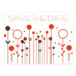 Orange Red Floral Dot Save the Date Postcard