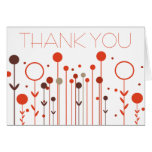 Orange Red Floral Dot Thank You Card