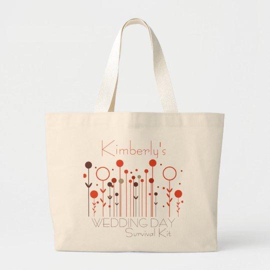 Orange Red Floral Dot Wedding Day Survival Kit Bag
