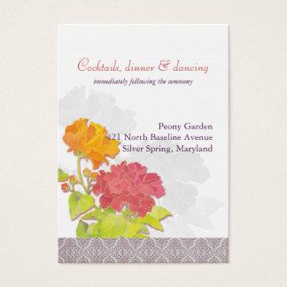 Orange Red Floral Wedding Reception Business Card