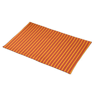 Orange Red & Gold Striped Placemat Cloth Placemat
