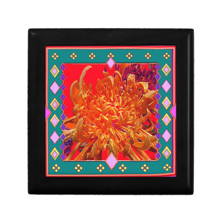 Orange-red Gypsy Mums Design by Sharls Small Square Gift Box