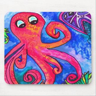 Orange-Red Octopus Mousepad